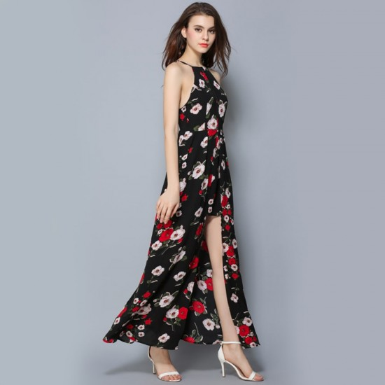 Floral Printed High Slit Bohemian Black Maxi Dress WC-278BK |image