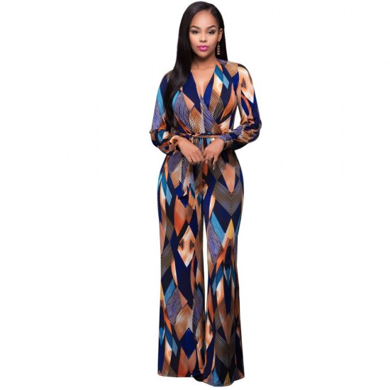 e447a2374aee Buy Long Sleeve Wrap plunge Wide Multi Color Jumpsuit WC-279 ...