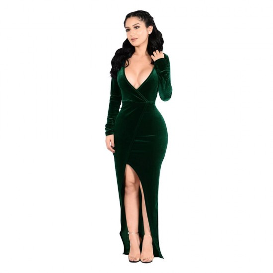 Velvet CrossOver Green Maxi Dress WC-280GN |image