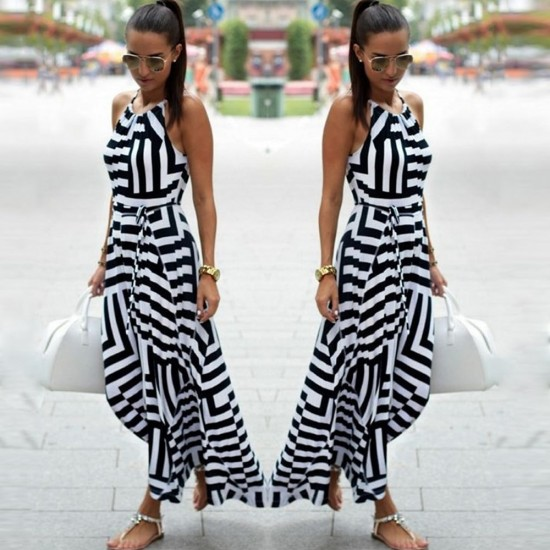 Black And White Striped Halter Chiffon Maxi Dress WC-281 |image