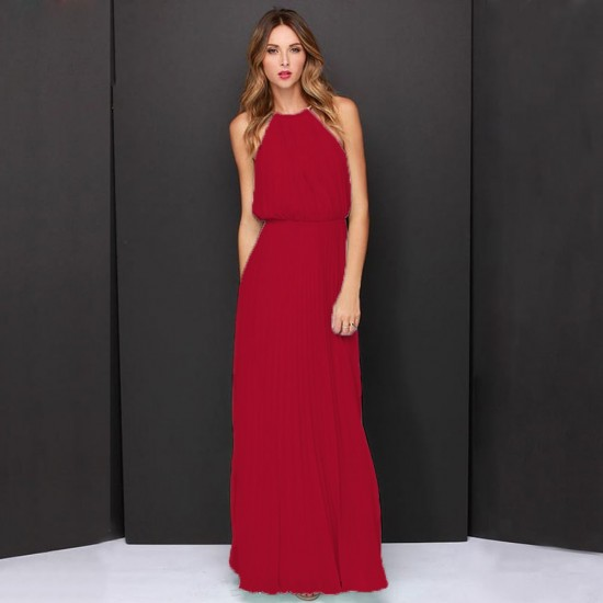 Casual Slim Halter Red Maxi Dress WC-282RD |image