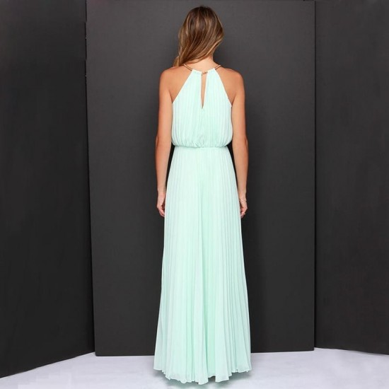 Casual Slim Halter Pink Maxi Dress WC-282PK |image