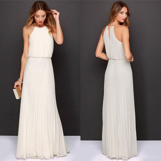 Casual Slim Halter White Maxi Dress WC-282WT |image