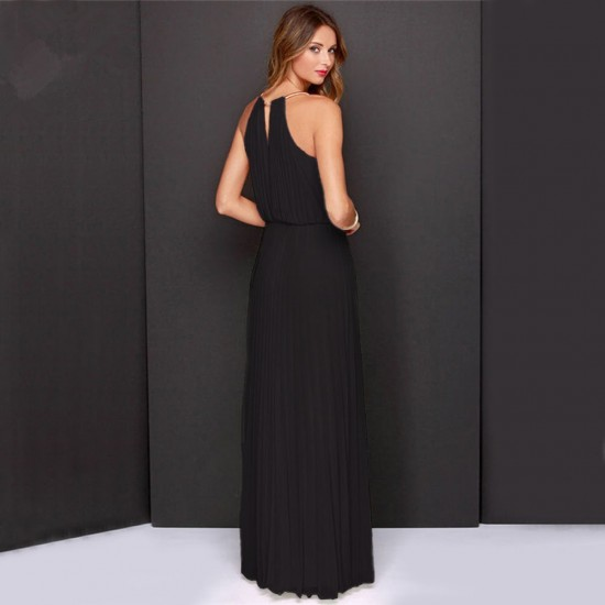 Casual Slim Halter Black Maxi Dress WC-282BK |image