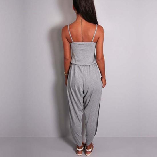 New Sleeveless Tunic Strap Grey Jumpsuit WC-283GR |image