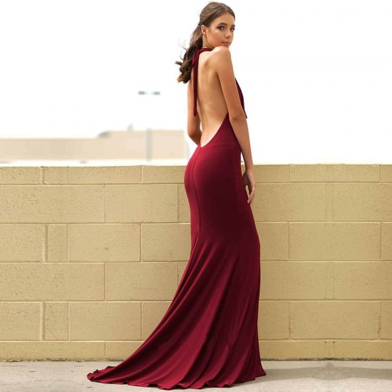 Backless Halter Red Maxi Dress WC-284 |image