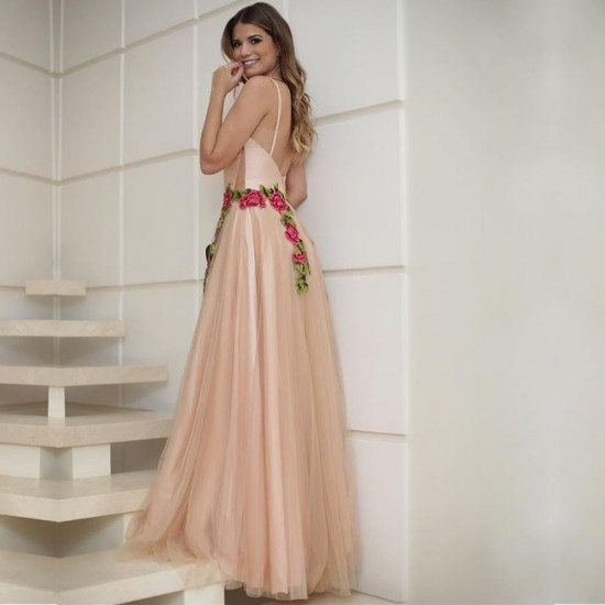 Patchwork Lace Strap Embroidery Maxi Dress WC-285 |image