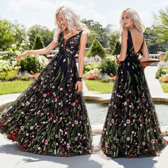 Black Floral Embroidered Maxi Dress WC-289 |image