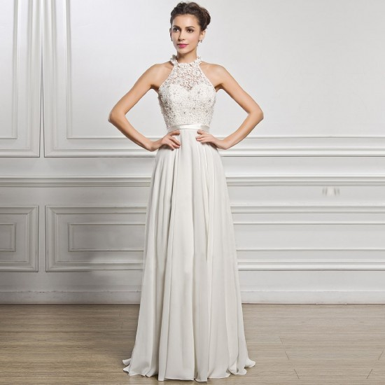 Halter Neck Chiffon Wedding White Dress WC-290 |image