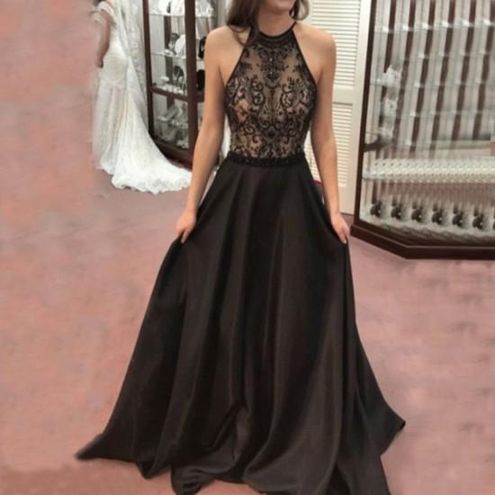 Fancy Sleeveless Halter Lace Neck Maxi Dress WC-292 |image