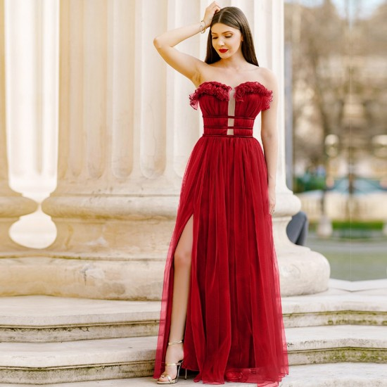 New Sexy Waist split Off Shoulder Red Dress WC-293RD |image