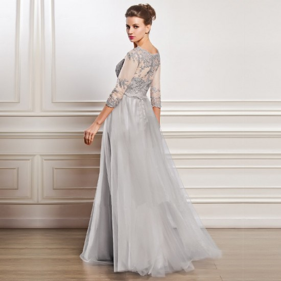 Lace Short sleeves Hollow-Out Gown White Maxi Dress WC-294 |image