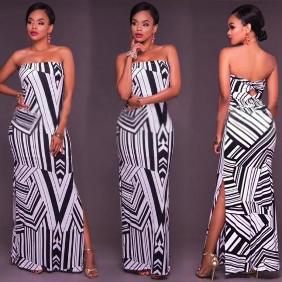 Casual Boho Off Shoulder Striped Maxi Dress WC-295 |image