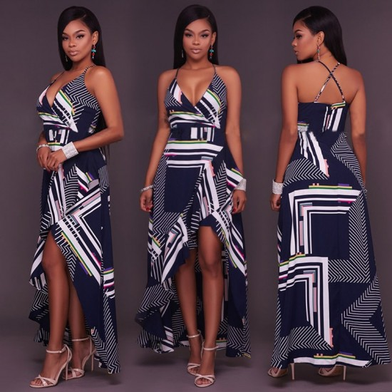 Blue Halter Cutout Striped Maxi Dress WC-296 |image