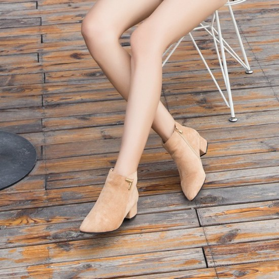 Chelsea Zipper Matte Brown Boots S-146BR |image