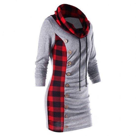 Women Plaid Stitching Grey Sweater WH-33GR  image