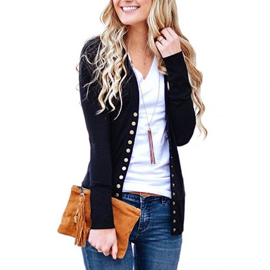 Cardigan V-Neck Button Down Long Sleeve Black Sweater WH-31BK |image