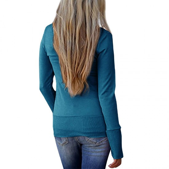 Cardigan V-Neck Button Down Long Sleeve Blue Sweater WH-31BL |image