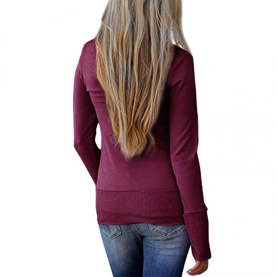 Cardigan V-Neck Button Down Long Sleeve Red Sweater WH-31RD |image