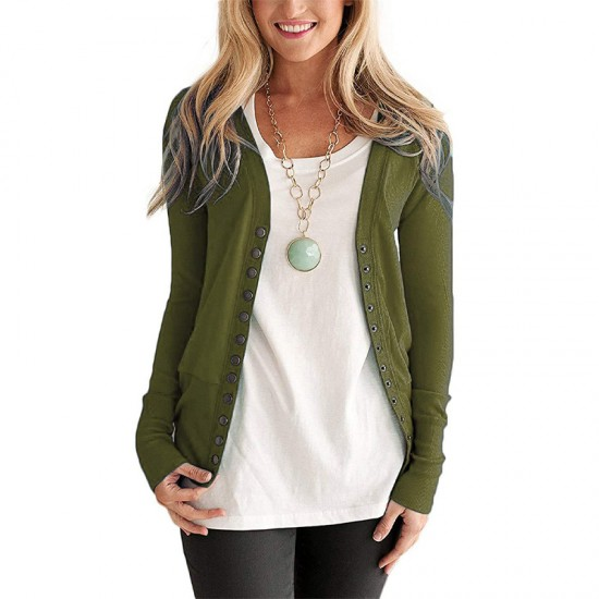 Cardigan V-Neck Button Down Long Sleeve Green Sweater WH-31GR |image