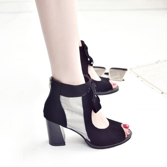 Peep Toe Black Heel Trendy Sandals S-168BK |image