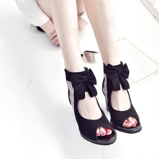 Peep Toe Black Heel Trendy Sandals S-168BK  image