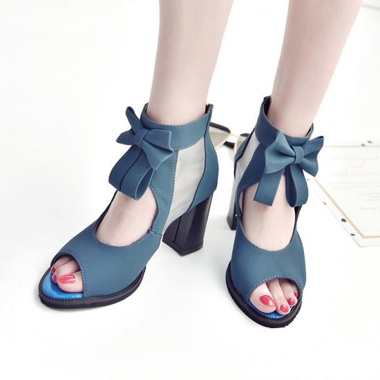 Peep Toe Blue Heel Trendy Sandals S-168BL |image