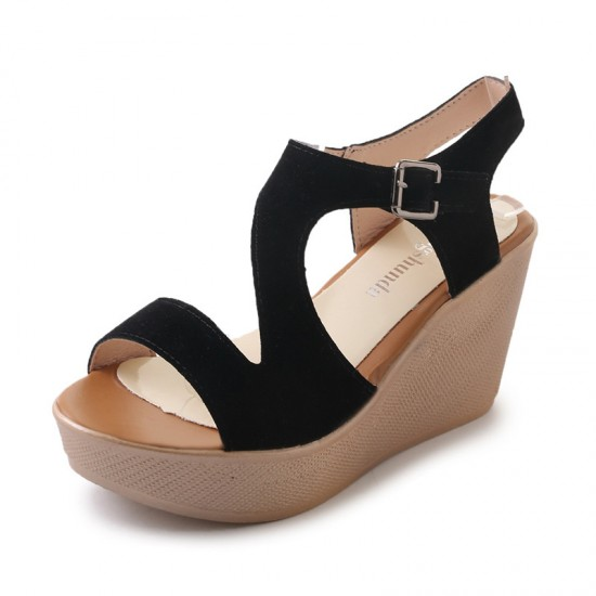 Fish Mouth Open Toe Black Wedge Sandals S-138BK  image