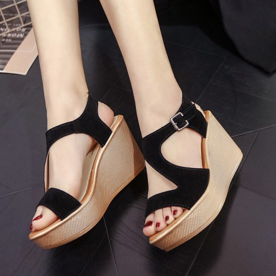 12cc20458 Buy Fish Mouth Open Toe Black Wedge Sandals S-138BK