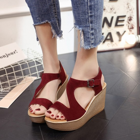 Fish Mouth Open Toe Red Wedge Sandals S-138RD |image