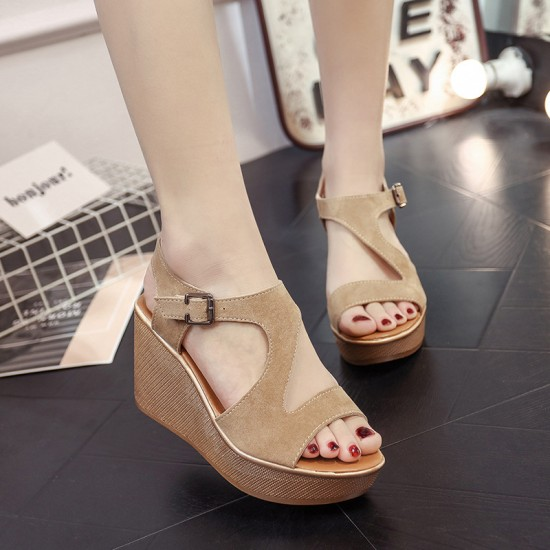Fish Mouth Open Toe Beige Wedge Sandals S-138BG |image
