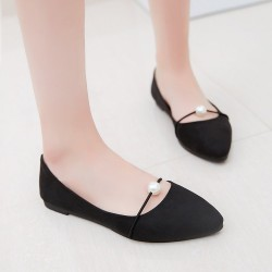 Beads Shallow Mouth Suede Black Flat Shoes S-142BK