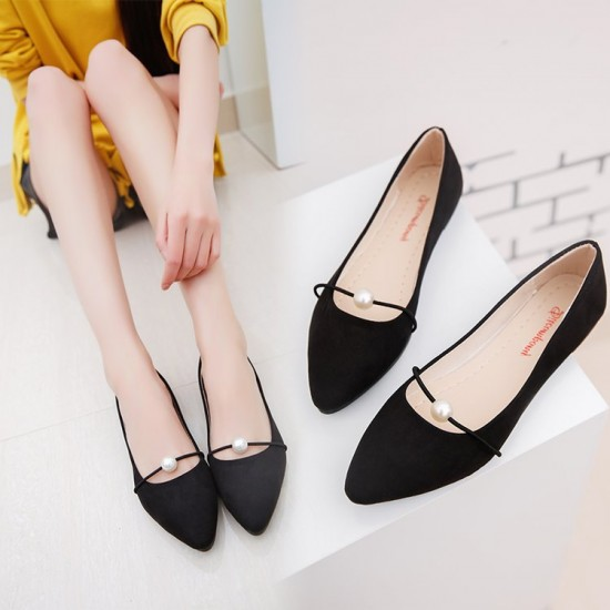 Beads Shallow Mouth Suede Black Flat Shoes S-142BK |image