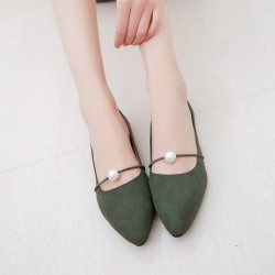 Beads Shallow Mouth Suede Green Flat Shoes S-142GN