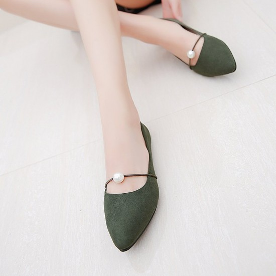 Beads Shallow Mouth Suede Green Flat Shoes S-142GN |image