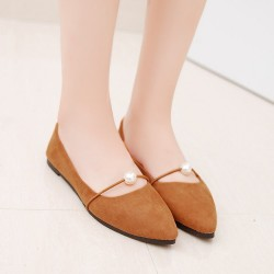 Beads Shallow Mouth Suede Brown Flat Shoes S-142BR