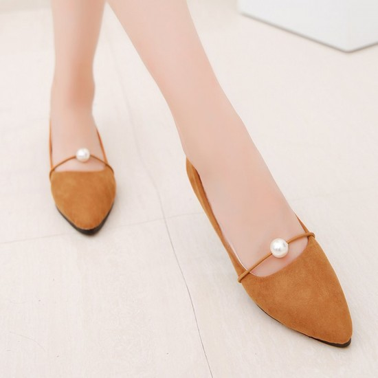 Beads Shallow Mouth Suede Brown Flat Shoes S-142BR |image