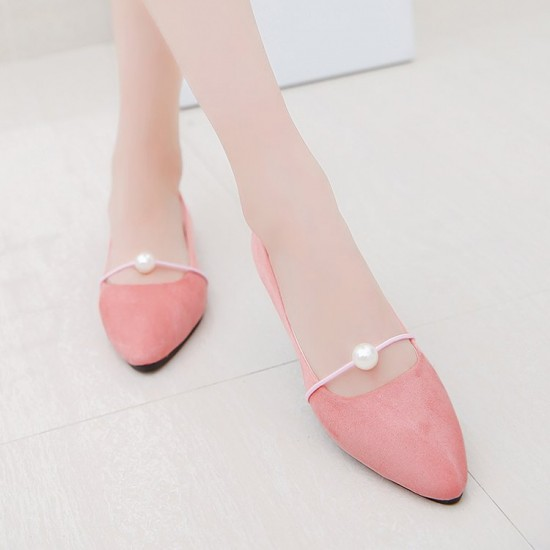 Beads Shallow Mouth Suede Pink Flat Shoes S-142PK |image