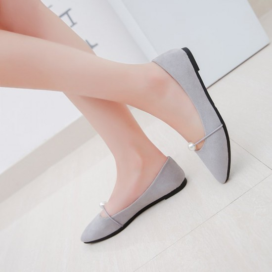 Beads Shallow Mouth Suede Grey Flat Shoes S-142GR  image