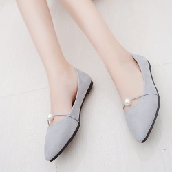 Beads Shallow Mouth Suede Grey Flat Shoes S-142GR