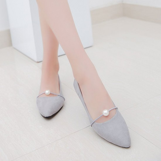 Beads Shallow Mouth Suede Grey Flat Shoes S-142GR |image