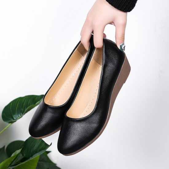 Soft Black Leather Flat Shoes S-140BK |image