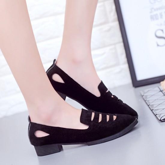 Pointed Toe Oxford Heel Low Heel Black Shoes S-157BK |image