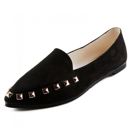 Casual Shallow Mouth Black Flat Shoes S-154BK |image