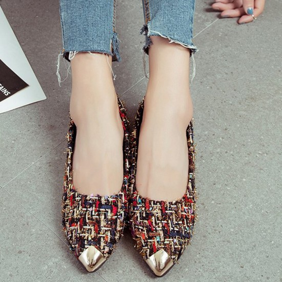 Low Heeled Multicolor Work Flat Shoes S-144BR |image