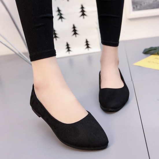 Casual Peas Suede Black Flat Shoes S-153BK |image