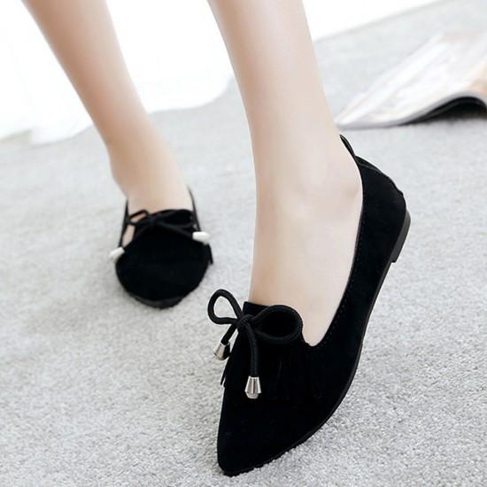 Assorted Tassel Black Flat Shoes S-156BK |image