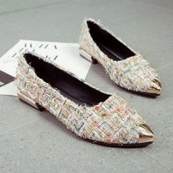Low Heeled Multicolor Work Flat Shoes S-144CR
