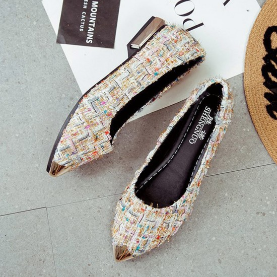 Low Heeled Multicolor Work Flat Shoes S-144CR |image