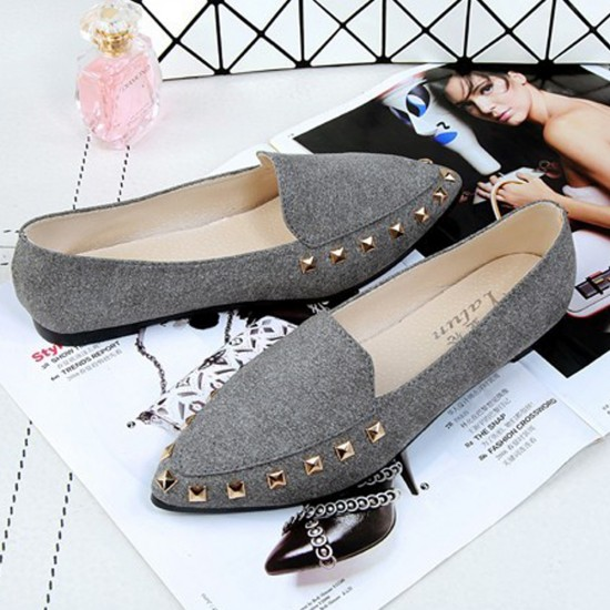 Casual Shallow Mouth Grey Flat Shoes S-154GR |image
